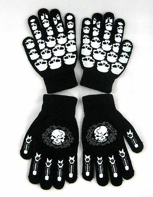 TWO PAIRS Glow In Dark Skully Magic Stretchy Cotton Gloves One Size Fits Most #3