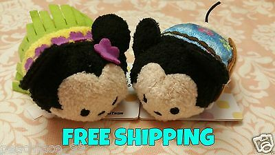 NEW Disney Store Hawaii Exclusive Aloha Mickey Mouse Minnie Tsum Tsum FREE SHIP