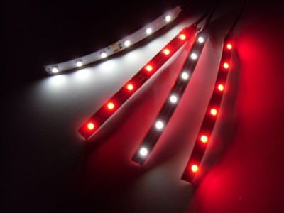 """4"""" RC Red and White Underbody 3528 LED Strip Lights Superbright FPV Quadcopter"""