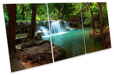 Forest Scene Tropical TREBLE CANVAS WALL ART Print Picture
