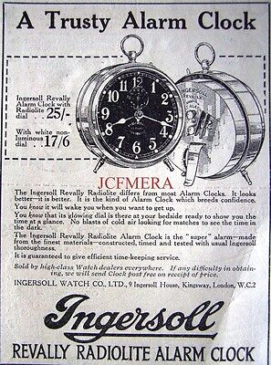 Small 1921 'INGERSOLL' Revally Radiolite Alarm Clock AD - Original Print ADVERT