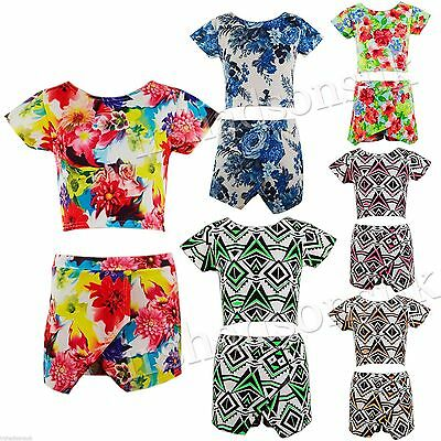 Kids Girls Aztec Floral Printed Skort & Crop Top Summer Set 7 8 9 10 11 12 13 Yr