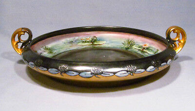 Bavaria Arzberg Hand Painted Carnival Iridescent Porcelain Lotus Blossom Bowl