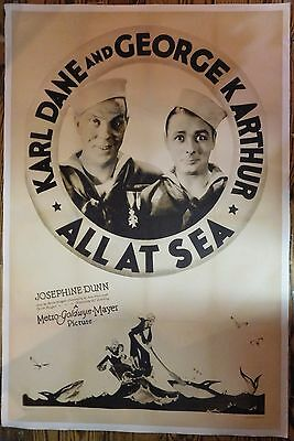 All At Sea 1929 one sheet linenbacked movie poster rerelease
