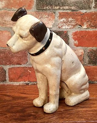 """RCA Victor Phonograph Cast Iron 10"""" Nipper Dog Vintage Penny Coin Bank"""