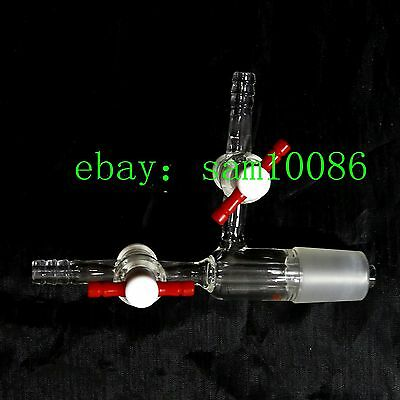 Vacuum Transfer Adapter, with 2 PTFE stopcocks,Lab Glass Valve,24/29 joint,new
