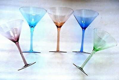 "5  COCKTAIL MARTINI  HARLEQUIN  STEM  GLASSES 7 1/4 "" (18.4cm)"