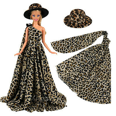 Evening Wedding Party Leopard Clothes Wears Dress Outfit Set for Barbie Doll