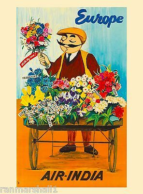 Air India fly Airlines Europe European Travel Poster Art Advertisement