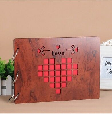 DIY 30Pages 27.3 x 19.8cm Wood Cover 3 Rings Photo Album Scrapbook LOVE