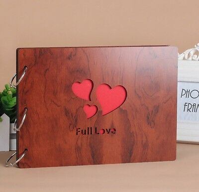 DIY 30Pages 27.3 x 19.8cm Wood Cover 3 Rings Photo Album Scrapbook FULL LOVE
