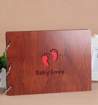 DIY 30Pages 27.3 x 19.8cm Wood Cover 3 Rings Photo Album Scrapbook BABY LOVE