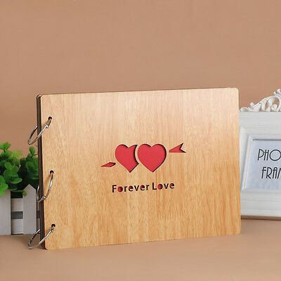 DIY 30Pages 27.3x19.8cm Beige Wood Cover 3 Rings Photo Album Scrapbook FOVERLOVE