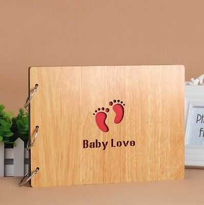 DIY 30Pages 27.3x19.8cm Beige Wood Cover 3 Rings Photo Album Scrapbook BABY LOVE