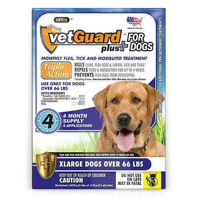Vetguard Plus For Dogs (XLarge Dogs Over 66lbs) Monthly Flea Treatment