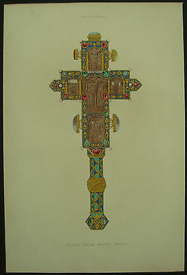 Cross From Mount Athos Henry Shaw 1858 Hand Coloured Engraving / Print