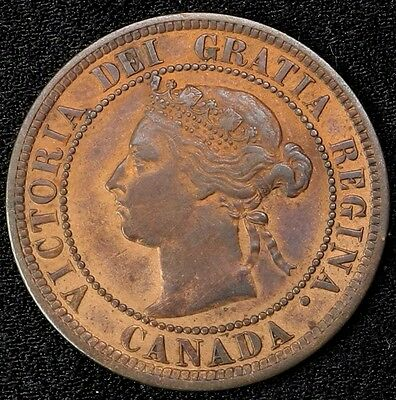 1887 Canada Large Cent 1C Queen Victoria Key Date Better Grade