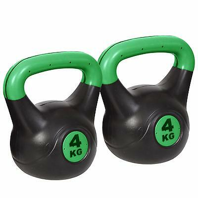 Noz Vinyl Kettlebell Weight Set 2 x 4KG Fitness Exercise Strength Training Green