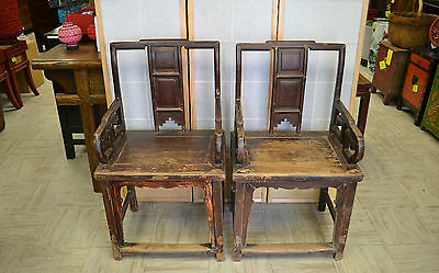 A Pair of Asian Chinese Antique Wooden Chairs Seat Sitting Armchairs CH-01