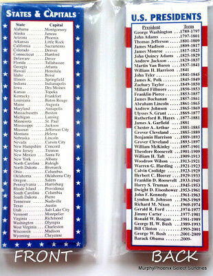 Lot of 12 Bookmarks U. S. Presidents / States & Capitals NWOT FREE SHIPPING!!