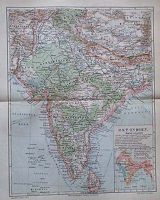OST-INDIEN INDIA 1896 alte Landkarte Karte Antique Map Lithographie