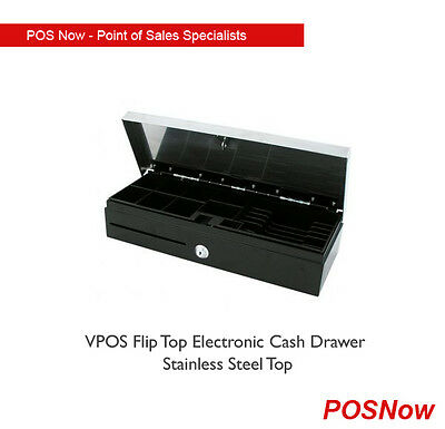 VPOS Flip Top Electronic Cash Drawer Stainless Steel top