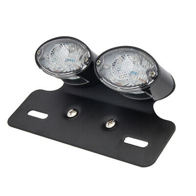 Cat Eye Twin Black LED Motorcycle Tail Light with Indicators Clear Lens