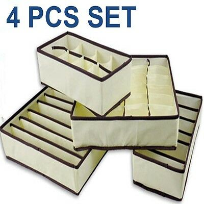 4x Drawer Closet Organizer Storage Box for Underwear Bra Socks Cosmetic Jewelry