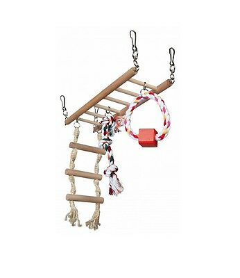 Hamster Toy WOODEN ACTIVITY LADDER Suspension Bridge Swing COLOUR Rope 29×25×9c