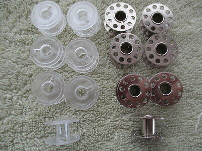Clear Or Metal Machine Spools / Bobbins 15K Flat Universal Fits Most Machines