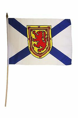 "Nova Scotia Canada Province 12"" X 18"" Inch Flag Banner On 2 Foot Wooden Stick"