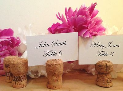 50 Handmade Champagne Cork Place Card Holders for Wedding, Party, Wine Event