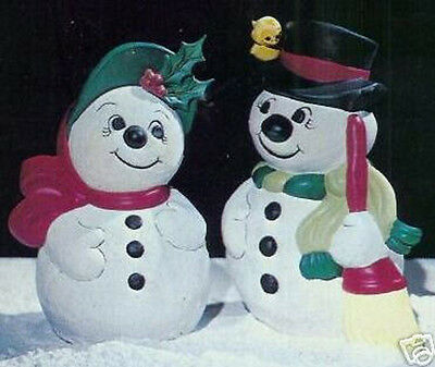 Ceramic Bisque Ready to Paint Snow Couple  Snowman and Snowlady