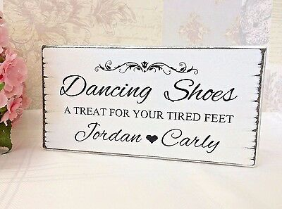 Personalised DANCING SHOES Sign Wedding Flip Flops Vintage Wedding Sign