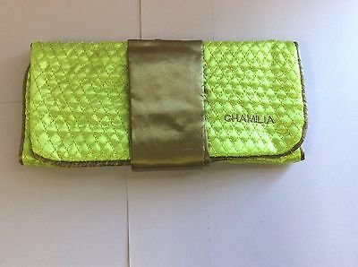 Chamilia Jewelry Case Roll Green Brown FabricTravel New