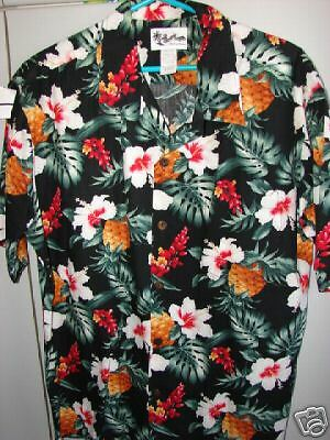 Howie   XL  Hibiscus & Pineapples on Black/Mint