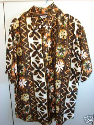 Made in Hawaii Mens Large  Flowers & Tapa on White