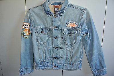 Gap Boys L Size 10 Surfing Theme Jeans Jacket Embroidered/Nice