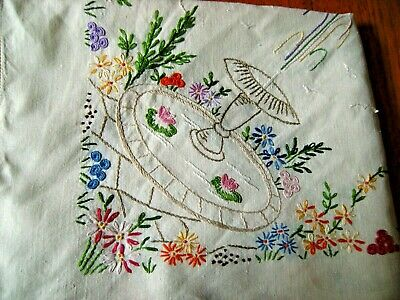 "Stunning Vintage Hand Embroidered Large Linen Tablecloth 51x 50"" Fountain Floral"