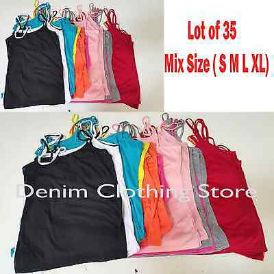 Lot of 35 Women Summer Cami Tank Top Spaghetti Straps Camisole Shirts Wholesale