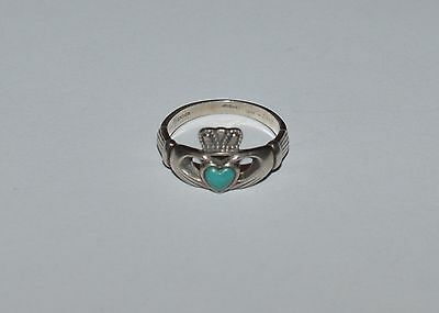 Vintage Ireland Signed Sterling Silver And Turquoise Claddagh Ring