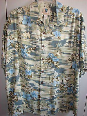 Kahala  XXL  Hibiscus Surfers & Outriggers on Beige/Mint
