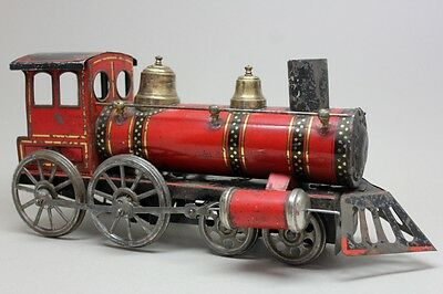 RARE Antique GUNTHERMANN RAILWAY-FLOOR TRAIN LOCOMOTIVE/ Lithographed Tin
