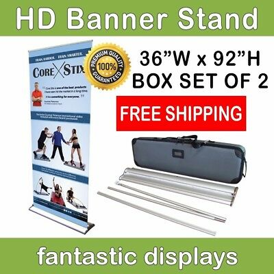 "36"" Pro Line Retractable Roll Up Banner Stand for 69' - 92"" Tall Banners - 2Pack"