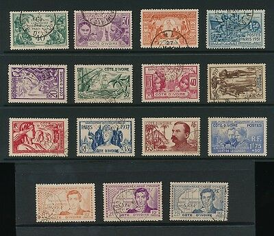 FRENCH IVORY COAST 1931-39 COMMEMORATIVES V.FINE USED 5 COMPLETE SETS 15 stamps