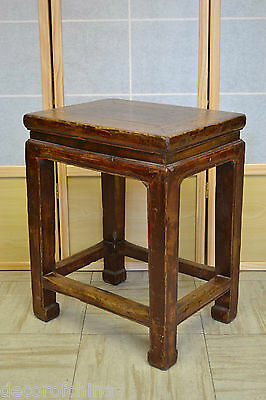 Asian Chinese Antique Wooden Rectangle Sitting Stool Side End Table Stand ST-02