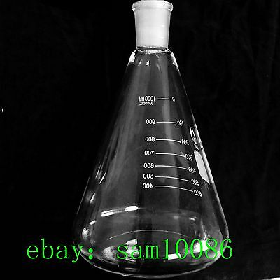 Glass Erlenmeyer Flask,1Litre,Conical Vessel,1000ml,24/40,chem Lab Glassware,new