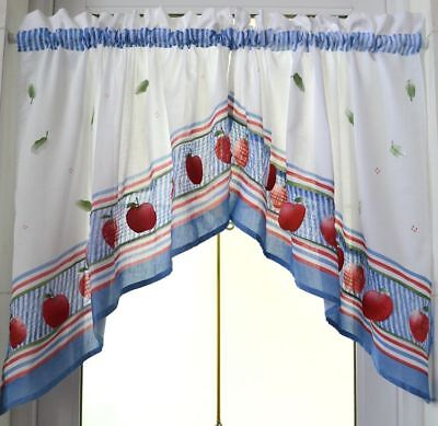 Chic Pair of 3D Red Apple Leave Embroidery Patch Curtain Swags