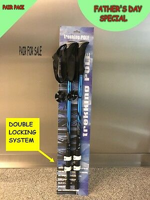 Adjustable Hiking Poles Anti Shock Trekking Walking Stick 2PCS PACK