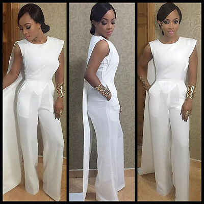 Fashion Women Sleeveless Bodycon Jumpsuit white Playsuit party Romper Clubwear
